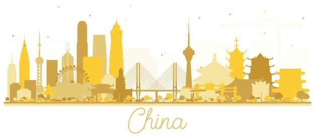 チャイナシティのスカイラインゴールデンシルエット。ベクトルイラスト。観光プレゼンテーション、バナー、プラカードまたはwebサイトのシンプルなフラットコンセプト。出張の概念。ランドマークのある中国の街並み。