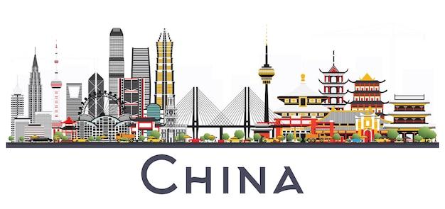 Горизонты города китая, изолированные на белом фоне. известные достопримечательности в китае. векторные иллюстрации. деловые поездки и концепция туризма. изображение для презентации, баннера, плаката и веб-сайта.