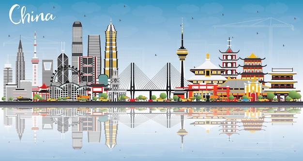 Горизонт города китая с отражениями. известные достопримечательности в китае. векторные иллюстрации. деловые поездки и концепция туризма. изображение для презентации, баннера, плаката и веб-сайта.