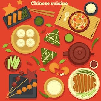 China dishes chinese cuisine seafood and dumplings green tea vector chicken fillet soup and hot beverage crab meat sauce and greenery cooking and culinary teapot and cup plate and cutting board