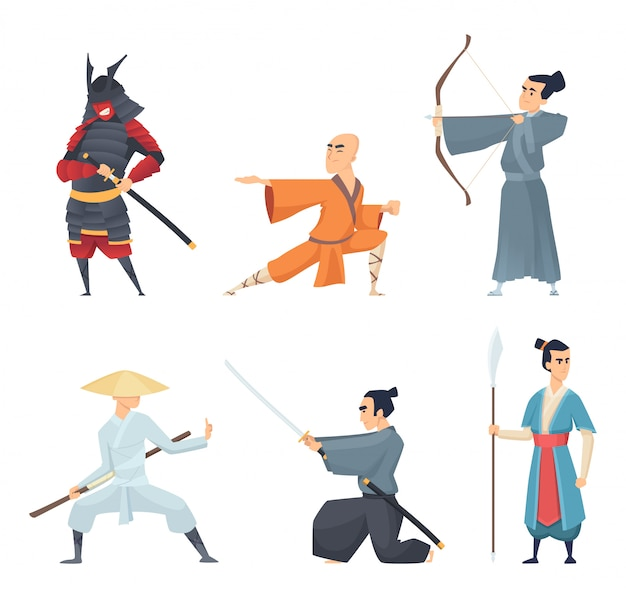 China fighters. traditional eastern heroes emperor guangdong samurai ninja sword  cartoon characters in action poses