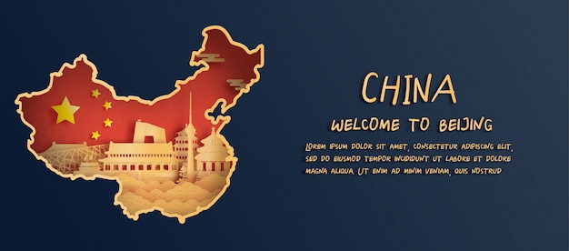 Флаг китая и карта с горизонтом пекина, всемирно известными достопримечательностями в стиле вырезки из бумаги