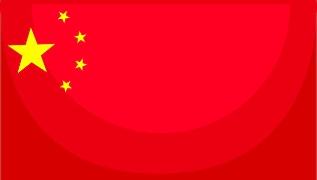 Bandiera della cina in stile cartone animato isolato su sfondo bianco