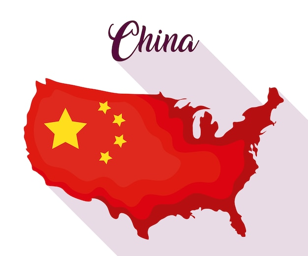 地図の形のデザインの中国の旗