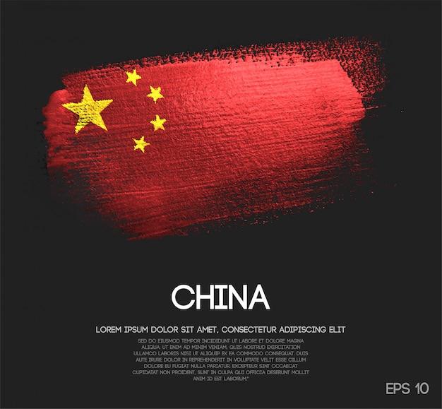 China flag made of glitter sparkle brush paint