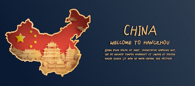 China flag and map with hangzhou skyline, world famous landmarks in paper cut style