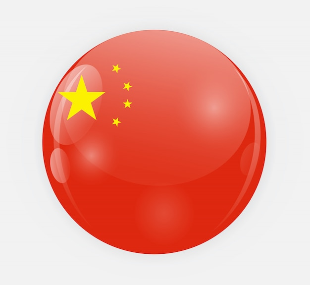 Premium Vector China Flag In A Rounded Shape Illustration