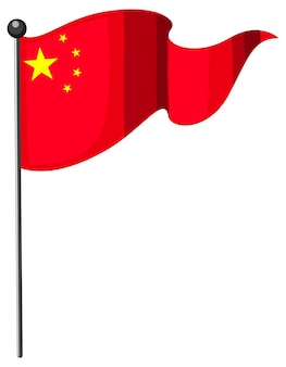 Bandiera della cina con palo in stile cartone animato isolato su sfondo bianco