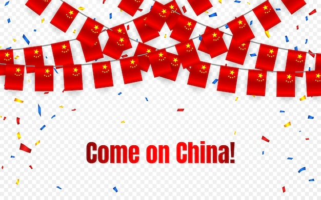 China garland flag with confetti on transparent background, hang bunting for celebration template banner,