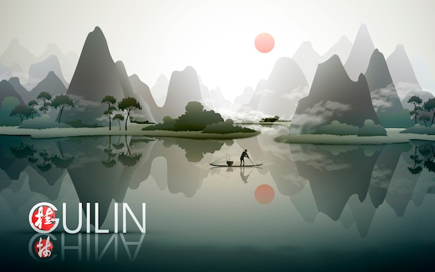 China guilin travel poster with natural scenery