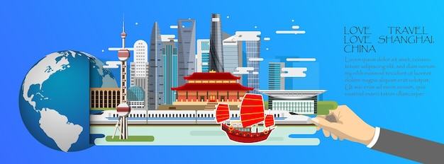China infographic, global with landmarks of shanghai