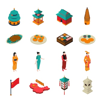 China isometric touristic set