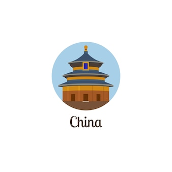 China landmark isolated round icon