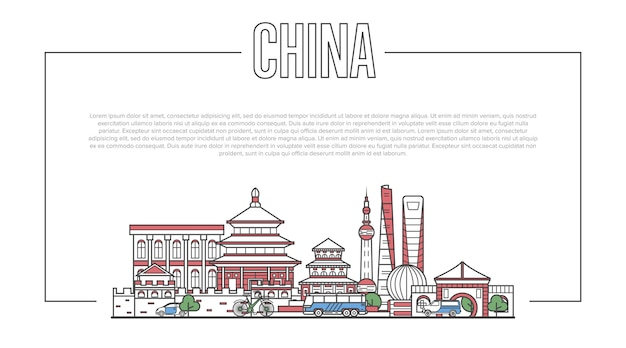 China landmark panorama in linear style