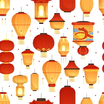China lanterns pattern. asian traditional new year colored paper symbols chinese dragon  seamless