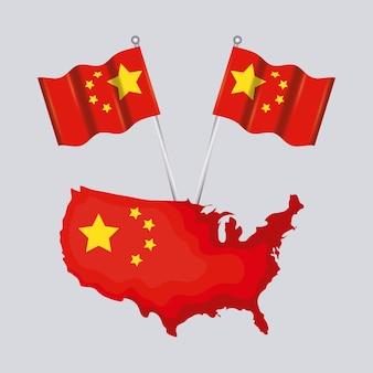 中国の地図とフラグ