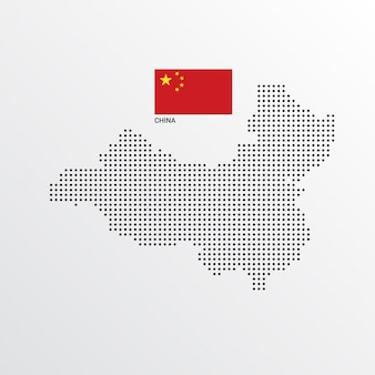 China Map design with flag and light background vector
