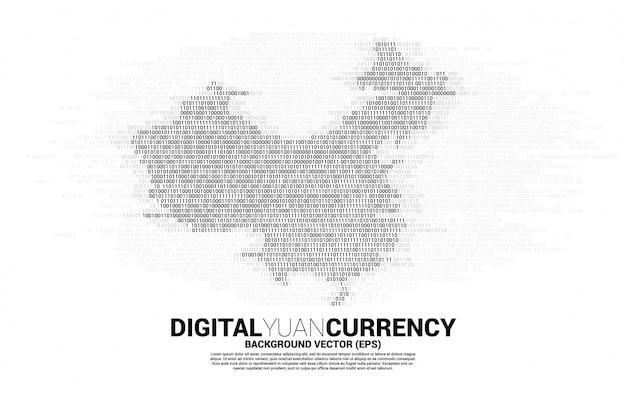 バイナリ0と1のコードからの中国のマップ。中国のデジタルネットワーク接続の概念。
