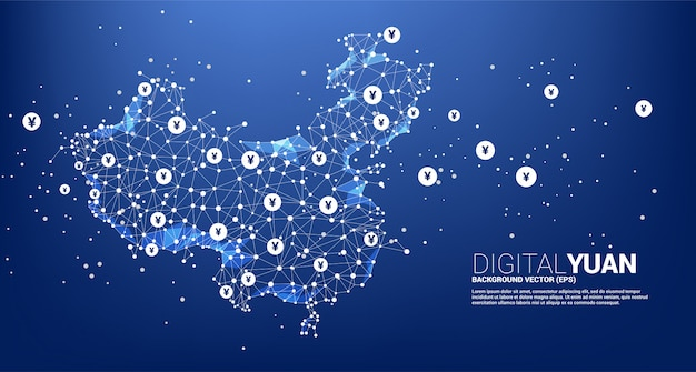 다각형 점에서 중국지도는 선과 디지털 위안을 연결합니다. 금융 중국 디지털 네트워크 연결에 대 한 개념입니다.