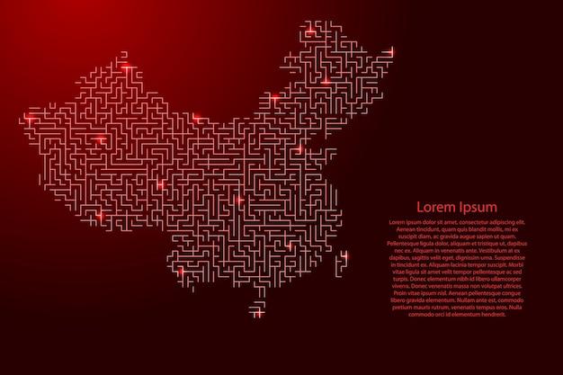 Карта китая из красного узора сетки лабиринта и сетки светящихся космических звезд.
