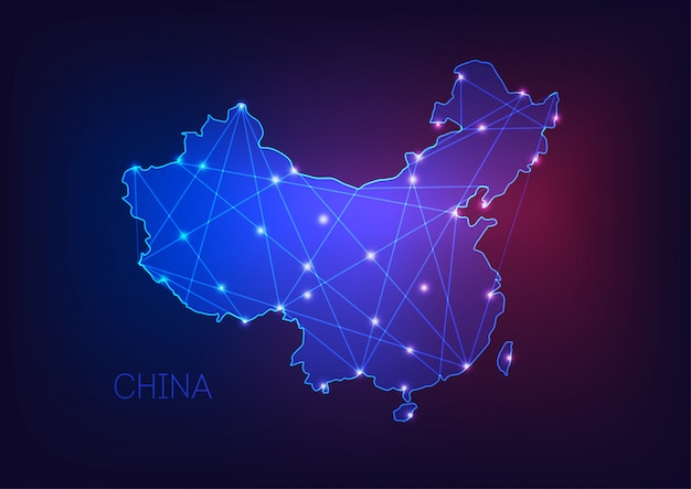 China map glowing silhouette outline made of stars lines dots triangles