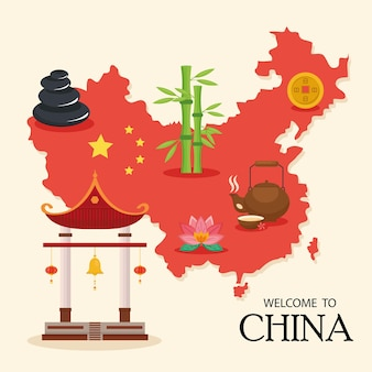 China map and icons