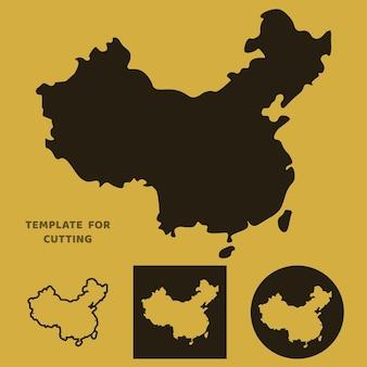 Карта китая шаблон для лазерной резки, резьбы по дереву, вырезки из бумаги. силуэты для вырезания. трафарет вектора карты китая.