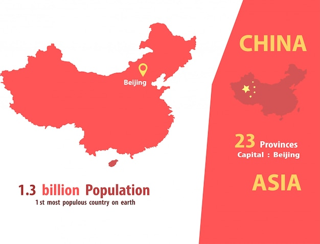 China map vector.number of population and world geography