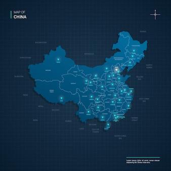 블루 네온 라이트 포인트가있는 중국지도