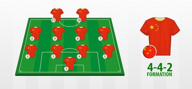 China national football team formation on football field.