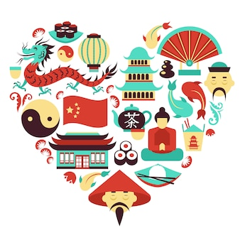 China symbols heart