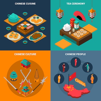 China touristic isometric 2x2 icons set