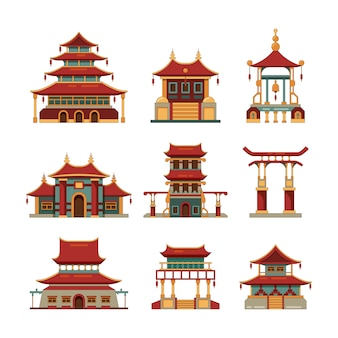 中国の伝統的な建物。文化的な日本オブジェクトゲートパゴダパレス漫画の建物のコレクション