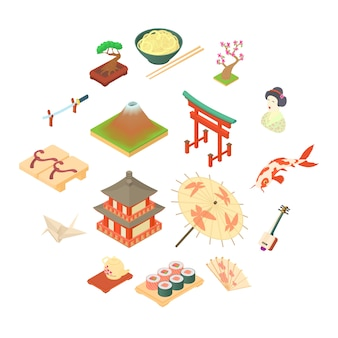 China traditional culture icons set, cartoon style