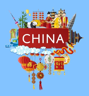 China travel background with famous asian symbols