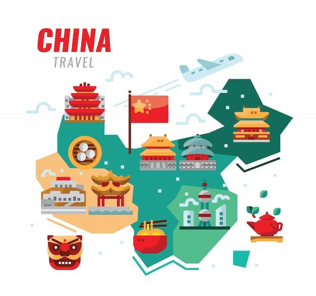 중국 여행. 중국 전통 건축, 건축 및 문화. 벡터 일러스트 레이 션