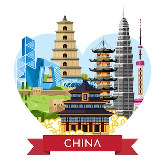China travel concept with famous asian buildings