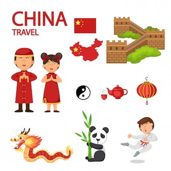 China travel illustration vector
