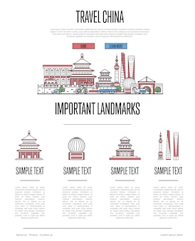 China travel infographics in linear style