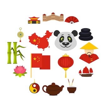 China travel symbols icons set in flat style