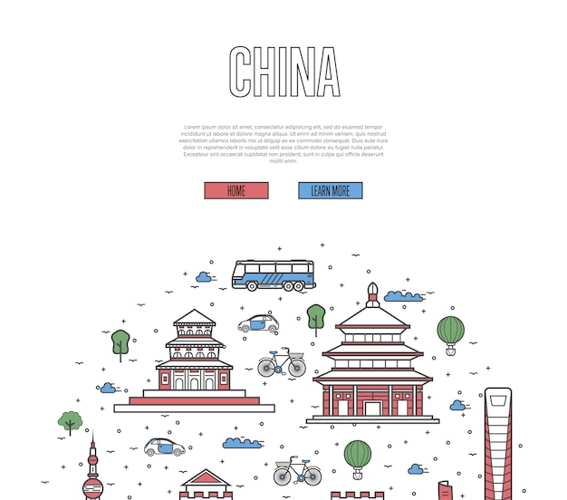 China travel tour template in linear style