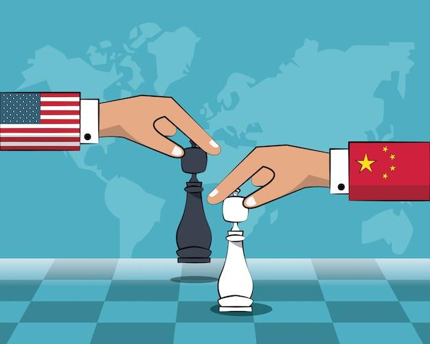 China and usa trade war concept