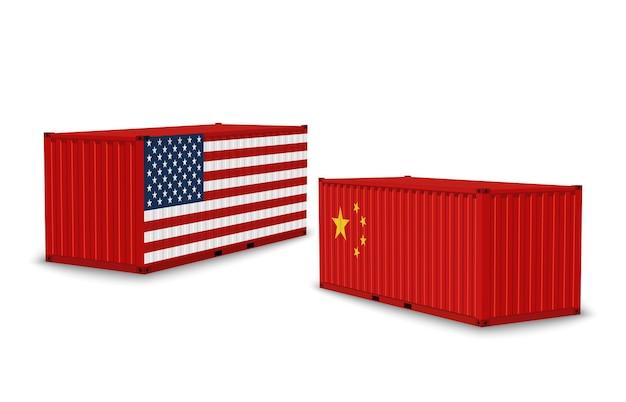 米中貿易戦争。国の旗、海運貨物、国際市場、輸出入経済禁輸、白で隔離された貿易相手国の紛争ベクトルの概念を備えた現実的な貨物コンテナ