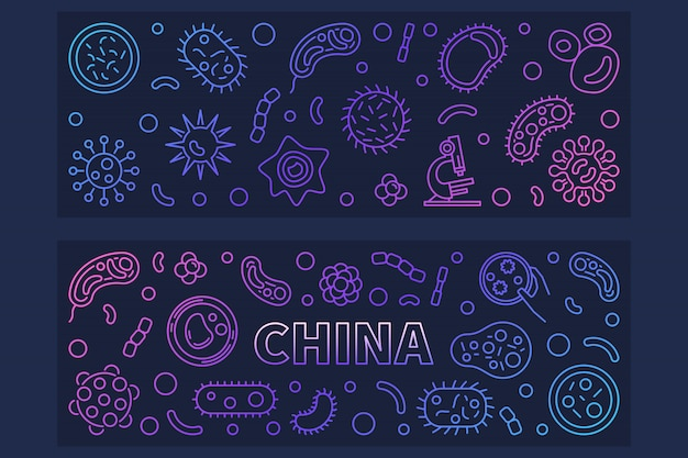 Китай вирусы концепции наброски иконы