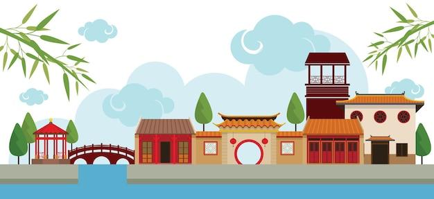차이나 타운 전통 건물과 건축