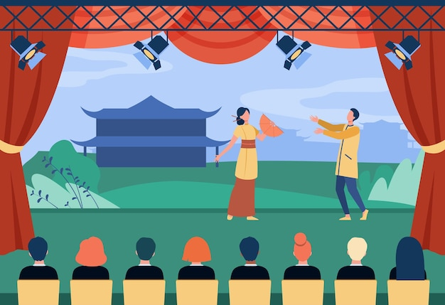 Chinese actors performing theatrical piece on stage Premium Vector