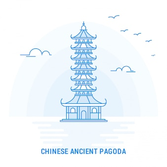 Chinese ancient pagoda blue landmark