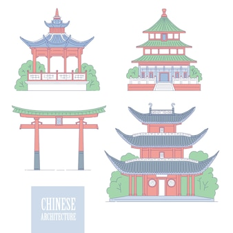 Chinese architectural landmarks. oriental architecture line art gate pagoda and gazebo.  set different traditional national buildings of china.