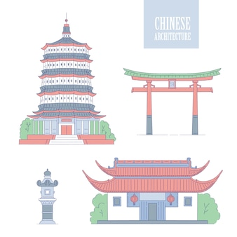Chinese architecture landmarks. oriental buildings line art gate pagoda and gazebo. set different architectural national tradition of china.