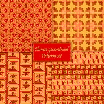 Chinese asian seamless patterns set